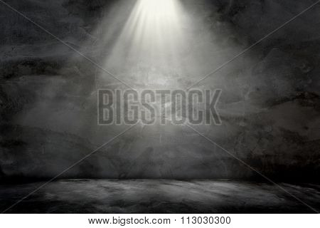 Wall Concrete Grunge Light Lamp On Top Background Texture.