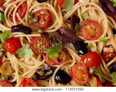 Italian Spaghetti Puttanesca Pasta Food Background
