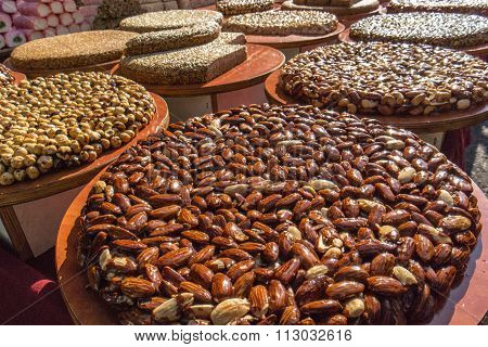 Fresh brittle with almonds in a market