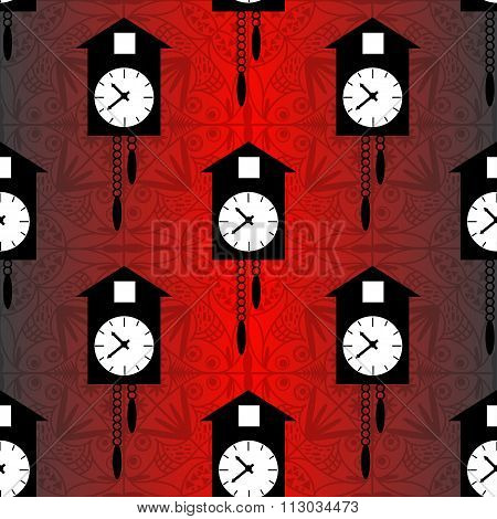 Cuckoo Clock On A Red Background Seamless Vector Pattern