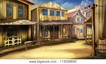 The main street of the town in the Wild West