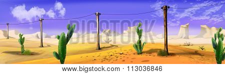 Landscape with telegraph-pole in a wild west desert. Panorama view.