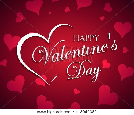 Pink heart on a red background, banners set. Happy Valentine's Day banner. White background text. We