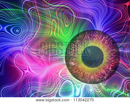 Mysterious view. Magic eye. Abstract plasma discharge as a background. Psychedelic color image.