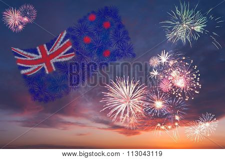 Holiday Fireworks With National Flag Of New Zeland