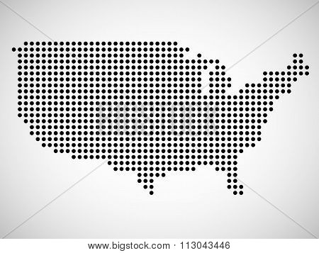 Abstract map of USA from round dots