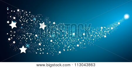 Starry Sky on Blue Background. Vector Illustration.