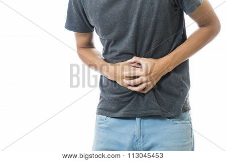 Man suffering from stomach pain on whit background,