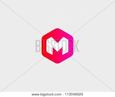 Abstract letter M, W logo design template. Colorful creative hexagon sign. Universal vector icon.