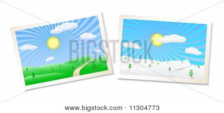 Winter And Summer Landscapes Illustration