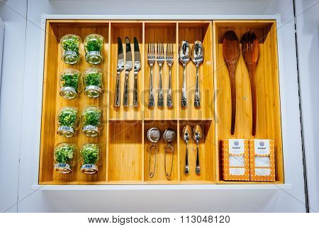 Malmo, Sweden - January 2, 2015: Ikea Dinner Set For Sale In Malmo, Sweden. Ikea Was Founded In Swed