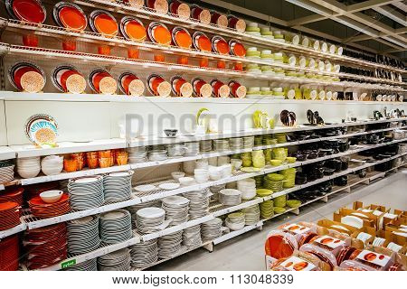Malmo, Sweden - January 2, 2015: Interior Of Large Ikea Store With A Wide Range Of Products In Malmo