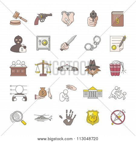 Crimes and Justice color vector icons