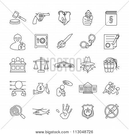 Crimes and Justice vector icons
