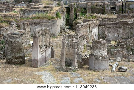 The forum of Trajan in Rome. Italy. Trajan's Forum was the last of the Imperial fora to be constructed in ancient Rome.