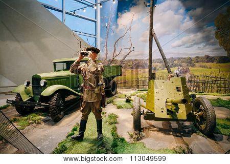 Russian Soviet military truck GAZ AA and Soviet 45mm anti-tank c