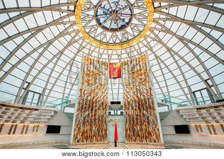 Minsk, Belarus - December 20, 2015: Hall inside dome of the Belarusian Museum Of The Great Patriotic War in Minsk, Belarus poster
