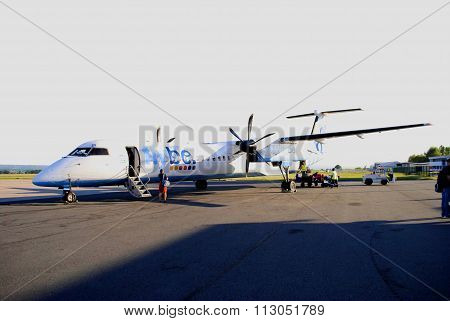 Flybe aircraft disembarking at Limoges Airport