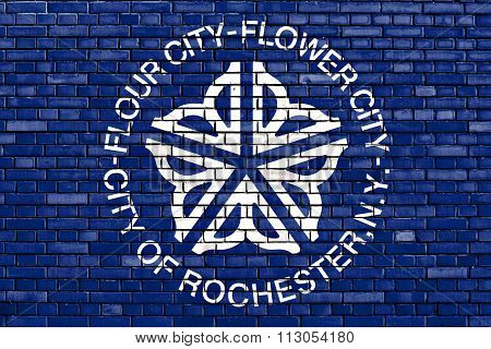 Flag Of Rochester Painted On Brick Wall