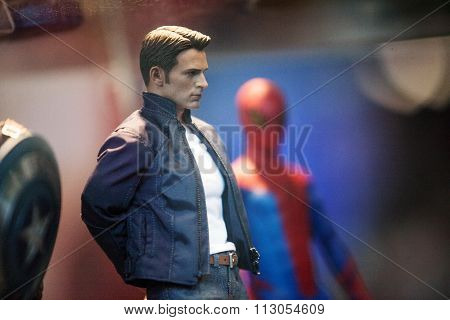 Saint Petersburg, RUSSIA - MAY 17, 2015: Captain America  figure in window on 17 MAY 2015