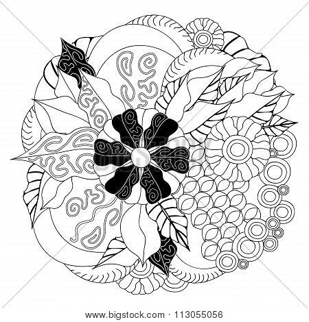 Stock Vector  Doodle Floral Pattern. Black And White