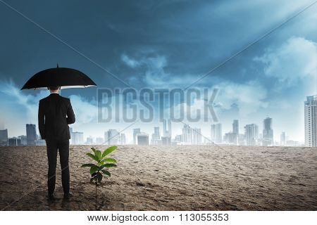 Asian Business Man In Black Umbrella Stand Beside Plant Seed Grow On The Desert
