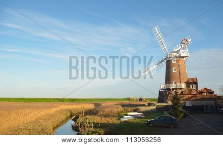 Cley windmill and marshes North Norfolk England.