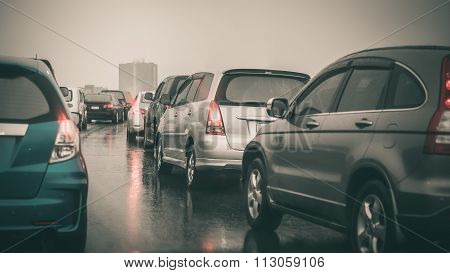 Traffic Jam On Express Way In Rainning Day