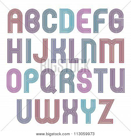 Stripy Colorful Geometric Font, Retro Stylish Typeface Created From Parallel Lines. Extraordinary Ve