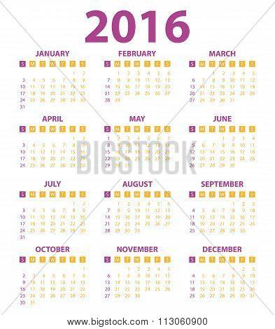Calendar for the year 2016