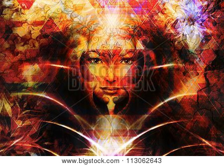 Beautiful Painting Goddess Woman with ornamental mandala and color abstract background  and desert c