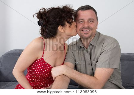 Romantic Young Couple Expressing Their Love By Rubbing Noses