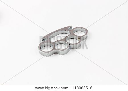 Brass knuckles weapon isolated with white background