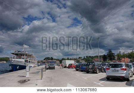 Harbor And Parking  In Rovinj, Croatia On Summer  Day