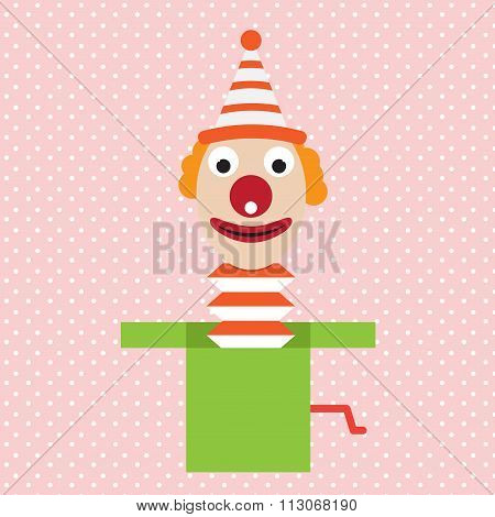 Cartoon Clown In Box Jester Vector joke Illustration
