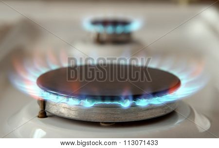 Gas stoves on home cooker fired up poster
