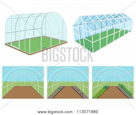 Set of isolated greenhouses on a white background. Vector illustration