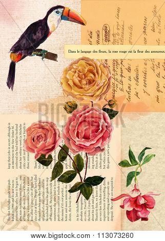 Vintage style postcard design or background template