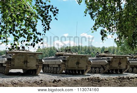 Tanks Built In A Row On The Battle Ground
