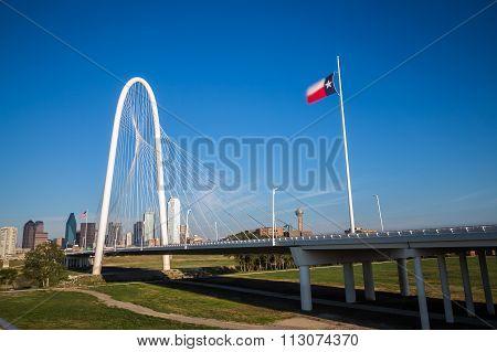 Dallas Downtown Skyline And Margaret Hut Hills Bridge From Continental Bridge Park, Texas.