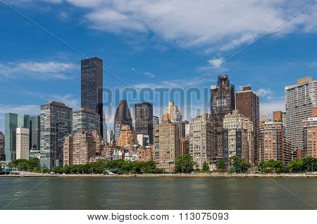New York Residential Building By East River From Roosevelt Island.