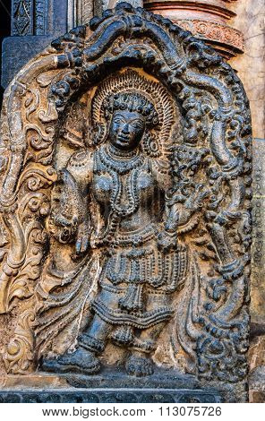 Artistic deity at entrance of Channakesava temple at Belur on December 30th, 2015