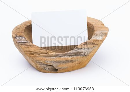 Wooden Dish With Label