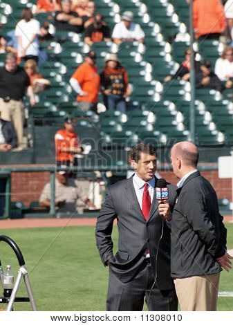 Fox 29 News Reporter Interviews Person On Field About Upcoming Game