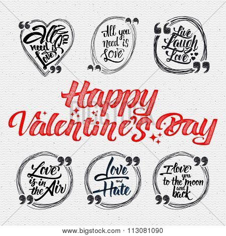 Happy valentine is day calligraphic quotes about love
