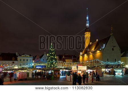 TALLIN, ESTONIA - DECEMBER 25, 2015: City hall square at Christmas on December 25, 2015 in Tallin, Estonia