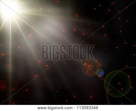 Sparkling lens flare effect on deep black and red background.