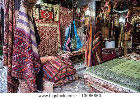 Sarajevo, Bosnia and Herzegovina - August 24, 2015: Carpets shop in Sarajevo in Bosnia and Herzegovina
