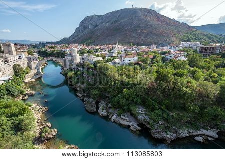 Aerial view on Mostar city with Old Bridge Bosnia and Herzegovina poster
