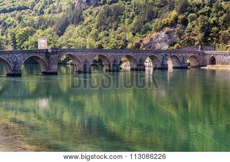 Sokollu Mehmed Pasha Bridge in Visegrad city Bosnia and Herzegovina poster